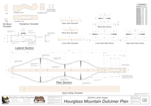 Hourglass Mountain Dulcimer Plans sections, headpiece templates