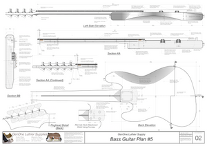 Solid Body Electric Bass Guitar Plan #5 Guitar side view, back view, longitudinal & material sections