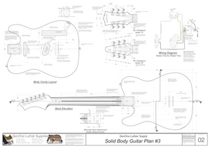 Solid Body Electric Guitar Plan #3 Guitar Back, Cutting Template & Wiring Diagram