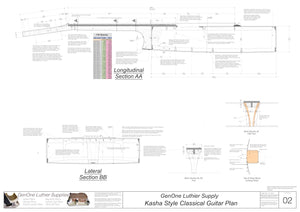 Classical Guitar Plans - Kasha Bracing Sections & Details