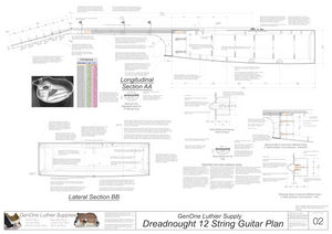 Dreadnought 12-String Guitar Plans Guitar Plans Sections & Details