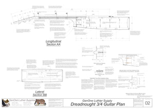 Dreadnought 3/4 Guitar Plans Sections & Details