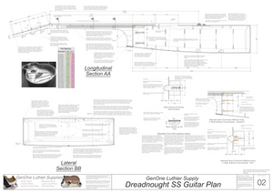 Dreadnought SS Guitar Plans Sections and Details