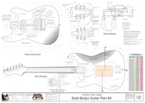 Solid Body Electric Guitar Plan #5 Guitar Back, Cutting Template & Wiring Diagram