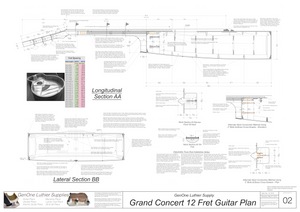 Grand Concert 12-Fret Guitar Plans Sections & Details