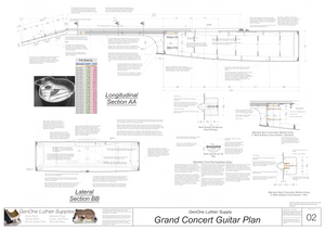 Grand Concert Guitar Plans Sections & Details