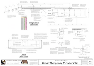 Grand Symphony V-Brace Guitar Plans Guitar Plans Sections & Details
