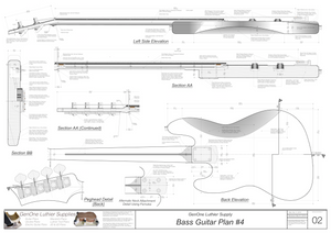 Solid Body Electric Bass Guitar Plan #4 guitar back & side view, latteral & longitudinal section
