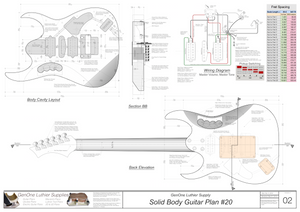 Solid Body Electric Guitar Plan #20 guitar back view, cutting template, lateral section, wiring diagram, fret spacing table