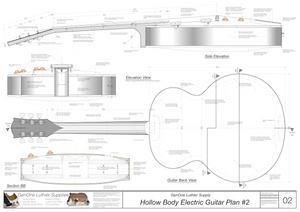 Hollow Body Electric Guitar Plan #2 Guitar back view, side view end view, section