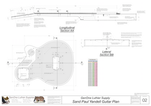 Electric Nylon Guitar Plans - Sand Paul Yandell, Lateral & Longitudinal Sections, Routing Layout for Back, Fret Spacing Table