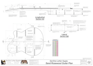 Electric Nylon Guitar Plans - Sand Rosewood, Lateral & Longitudinal Sections, Back Layout, Fret Spacing Tables