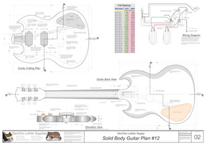 Solid Body Electric Guitar Plan #12 Guitar Back, Cutting Template & Wiring Diagram