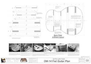 OM-14 Fret Guitar Plans Back Layout & Back Brace Layouts