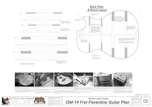 OM 14-Fret Florentine Guitar Plans Back Layout & Back Brace Layouts