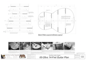 00-28vs 14-Fret Guitar Plans Back Layout & Back Brace Layouts