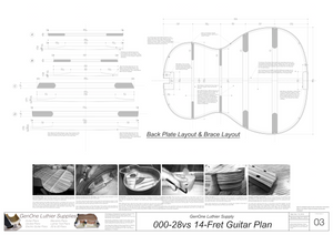 000-28vs 14 Fret Guitar Plans Plans Back Layout & Back Brace Layouts