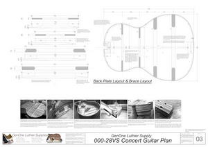 000-28vs Guitar Plans Back Layout & Back Brace Layouts