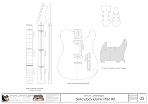Solid Body Electric Guitar Plan #2 template sheet