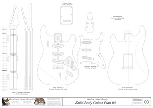 Solid Body Electric Guitar Plan #3 Guitar Template Sheet