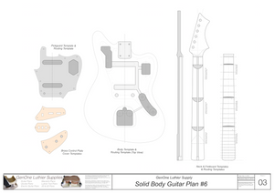 Solid Body Electric Guitar Plan #6 Guitar Template Sheet