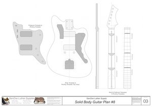 Solid Body Electric Guitar Plan #8 Guitar Template Sheet