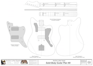 Solid Body Electric Guitar Plan #9 Guitar Template Sheet