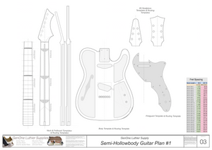 Hollow Body Electric Guitar Plan #1 Template sheet