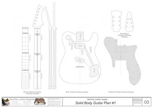 Solid Body Electric Guitar Plan #1 Guitar Template Sheet