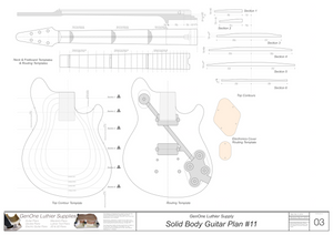 Solid Body Electric Guitar Plan #11 Guitar Template Sheet