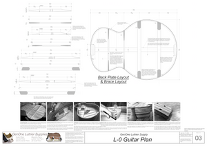 Gibson L-0 Guitar Plans Back Layout & Back Brace Layouts