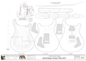 Solid Body Electric Guitar Plan #21 template sheet