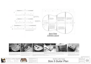 Size 5 Guitar Plans Back Layout & Back Brace Layouts
