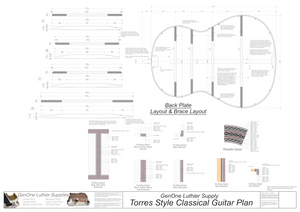 Classical Guitar Plans - Torres Bracing Back Layout & Back Brace Layouts
