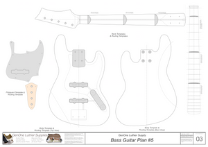Solid Body Electric Bass Guitar Plan #5 Template sheet