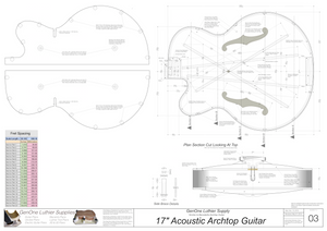 Benedetto 17 Archtop Guitar Plans, Body Cutting Template, Lateral Section, Bender Form Inserts