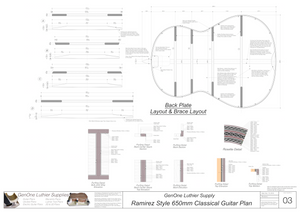 Classical Guitar Plans Ramirez Bracing 650mm Back Layout & Back Brace Layouts