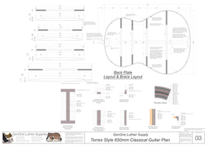 Classical Guitar Plans - Torres Bracing 650mm Back Layout & Back Brace Layouts