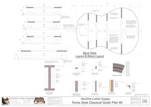 Classical Guitar Plans - Torres 2 Bracing Back Layout & Back Brace Layouts