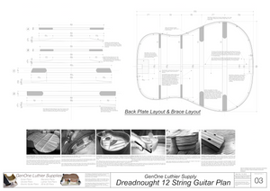 Dreadnought 12-String Guitar Plans Plans Back Layout & Back Brace Layouts