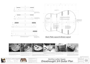 Dreadnought 3/4 Guitar Plans Back Layout & Back Brace Layouts