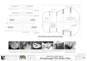 Dreadnought SS Guitar Plans Back Layout & Back Brace Layouts