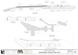 Solid Body Electric Guitar Plan #17 Guitar Template Sheet