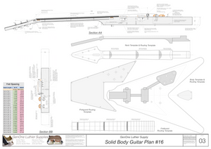 Solid Body Electric Guitar Plan #16 Guitar Template Sheet