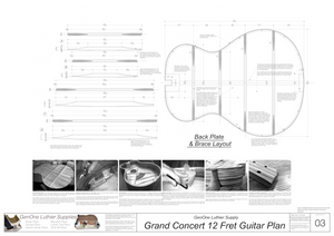 Grand Concert 12-Fret Guitar Plans Back Layout & Back Brace Layouts
