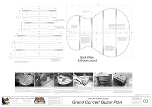 Grand Concert Guitar Plans Back Layout & Back Brace Layouts