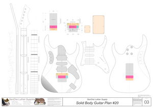 Solid Body Electric Guitar Plan #20 template sheet