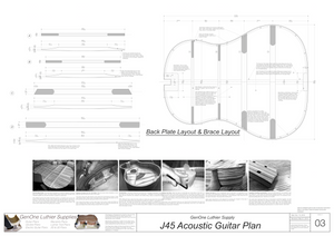 J45 Guitar Plans Back Layout & Back Brace Layouts