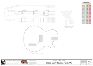 Solid Body Electric Guitar Plan #13 Guitar Template Sheet