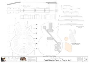Solid Body Electric Guitar Plan #15 Guitar Template Sheet